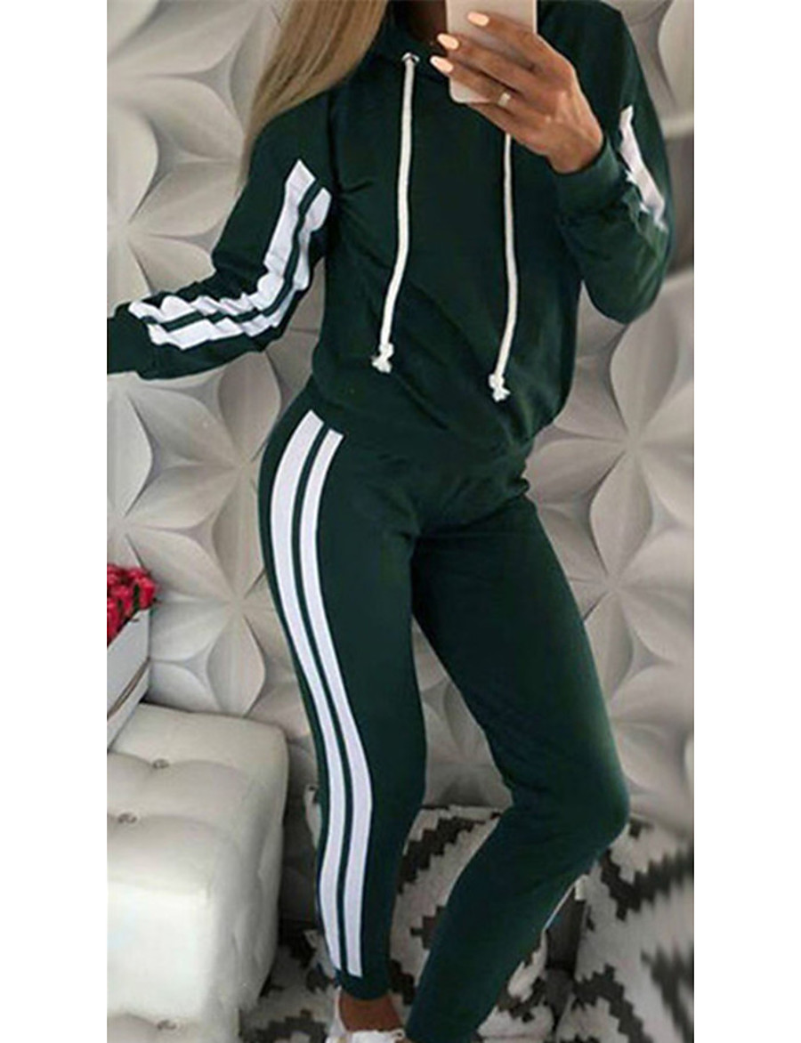 Women's Striped Daily Wear Two Piece Set Hoodie Pant Loungewear Patchwork Tops