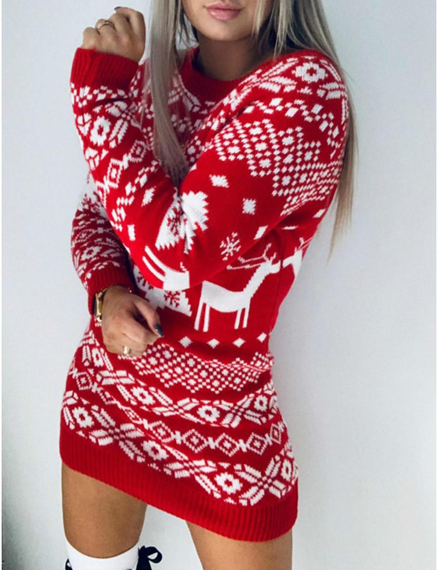 Women's Sweater Jumper Dress Short Mini Dress Green Black Red Long Sleeve Geometric Animal Patchwork Print Fall Winter Round Neck Casual Going out 2021 S M L XL XXL