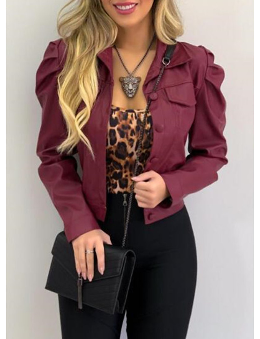 Women's Faux Leather Jacket Short Solid Colored Holiday Active Black Wine Army Green Camel S M L XL