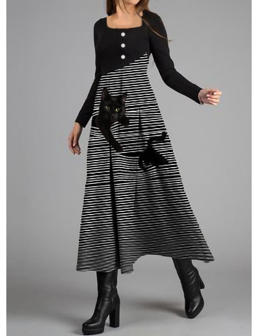 Damen Swing Kleid Maxi Langes Kleid Cat Print Kleid ...