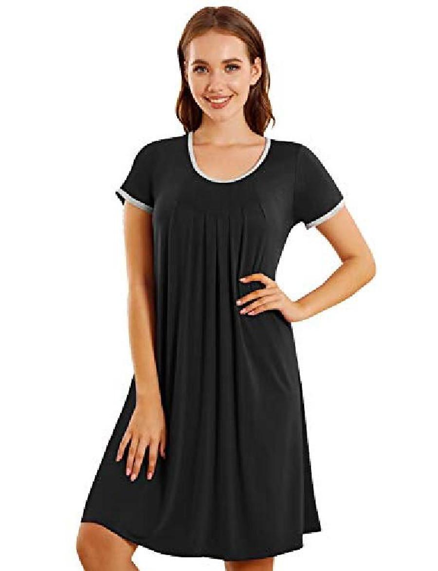 women's nightshirt crewneck nightgown oversized nightdress short sleeve baggy sleep shirt sleepwear loungewear (yellow, m)