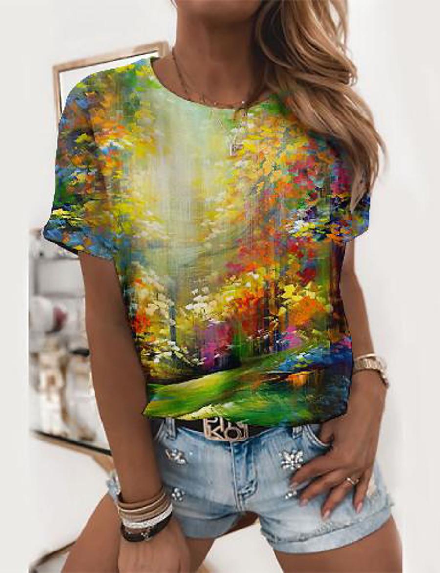Women's Painting T shirt Scenery Graphic Prints Print Round Neck Basic Tops Green