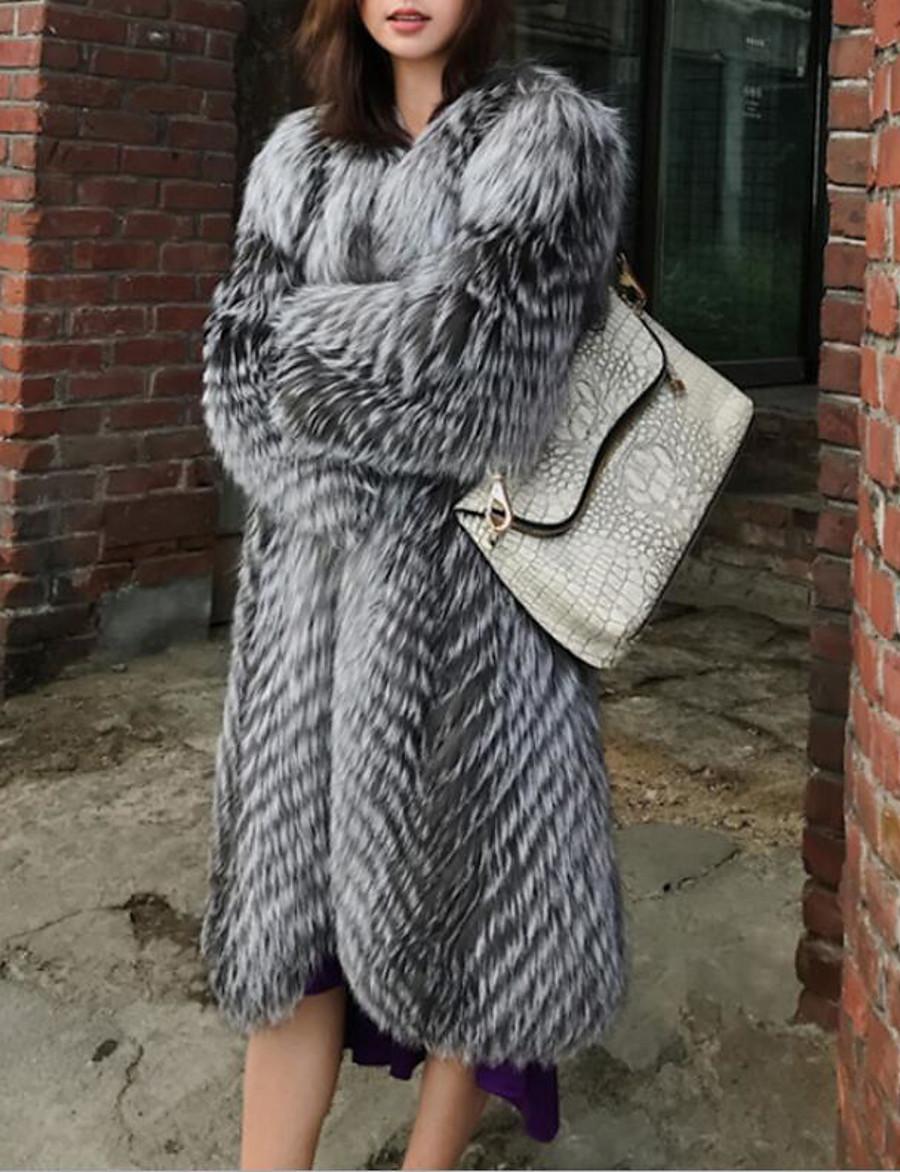 women's long real silver fox fur coat with fox fur collar thick warm coat