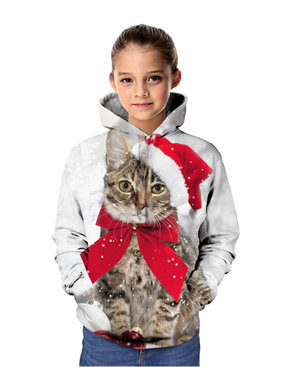 Kids Girls' Hoodie & Sweatshirt Long Sleeve Cat Santa Claus Graphic 3D Christmas Print Light gray Children Tops Active Christmas