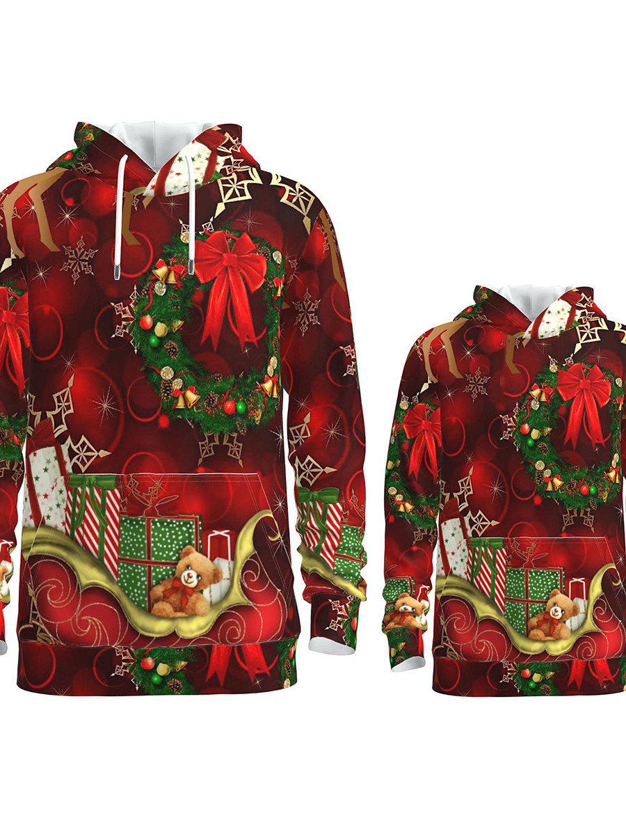 Dad and Son Christmas Hoodie & Sweatshirt Graphic Optical Illusion Animal Print Red Long Sleeve Active Matching Outfits