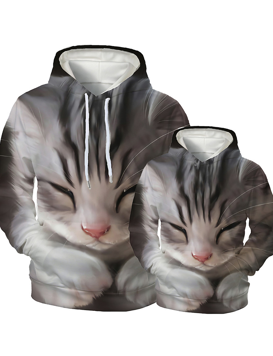 Hoodie & Sweatshirt Family Look Graphic Optical Illusion Animal Print Gray Long Sleeve Active Matching Outfits