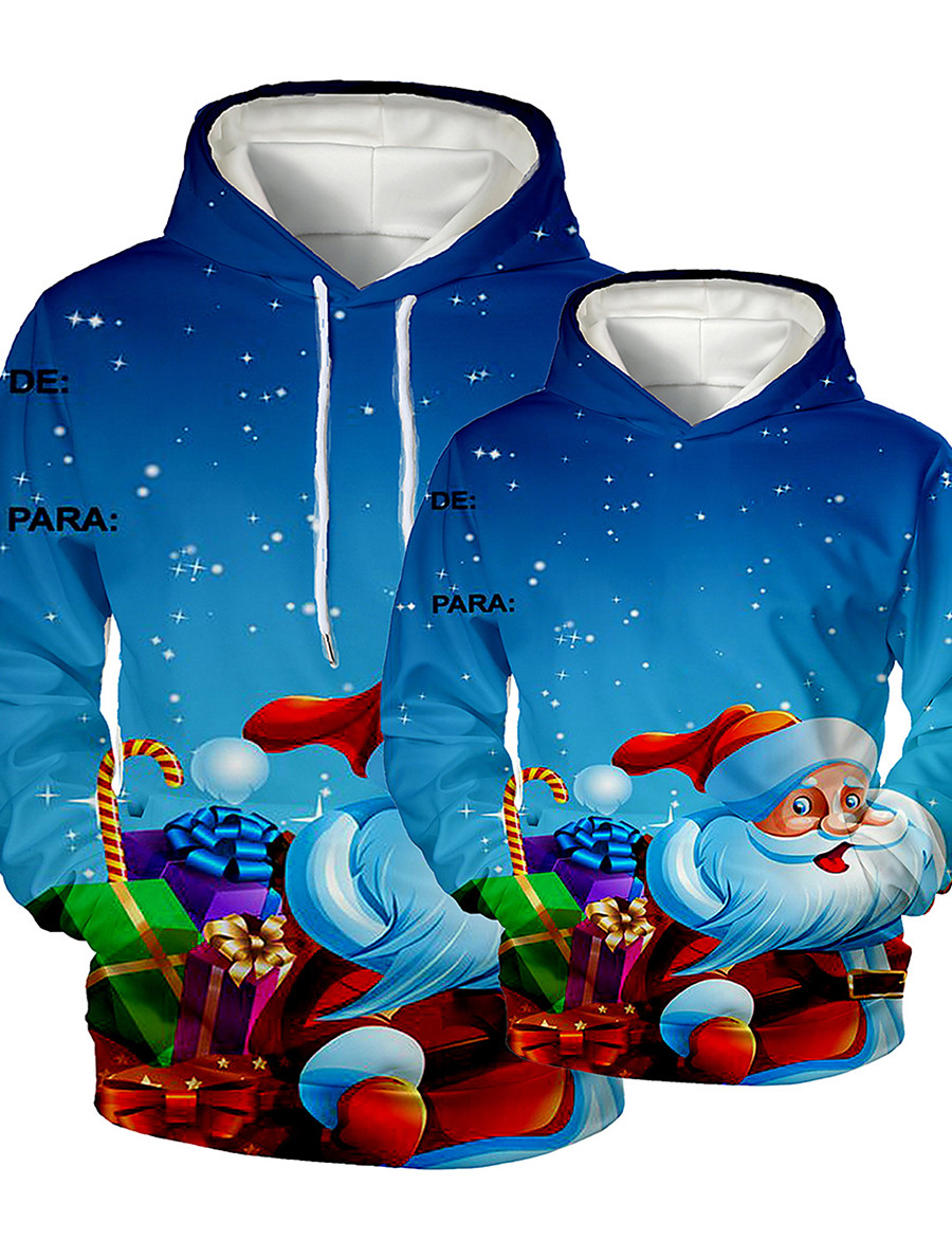 Dad and Son Christmas Hoodie & Sweatshirt Graphic Optical Illusion Print Blue Long Sleeve Active Matching Outfits