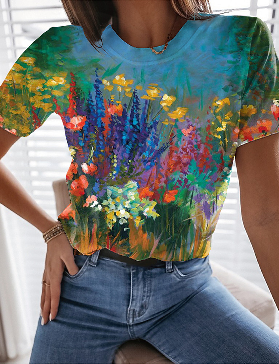 Women's Floral Theme Painting T shirt Floral Graphic Print Round Neck Basic Tops Blue Yellow Green