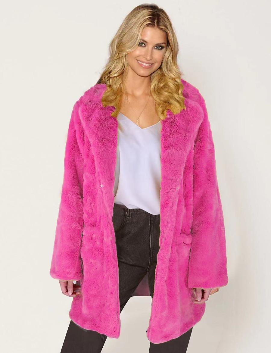 Women's Faux Fur Coat Fall Winter Wedding Daily Going out Long Coat Warm Fashion Regular Fit Elegant & Luxurious Jacket Long Sleeve Fur Solid Colored Yellow Blushing Pink Fuchsia / Plus Size