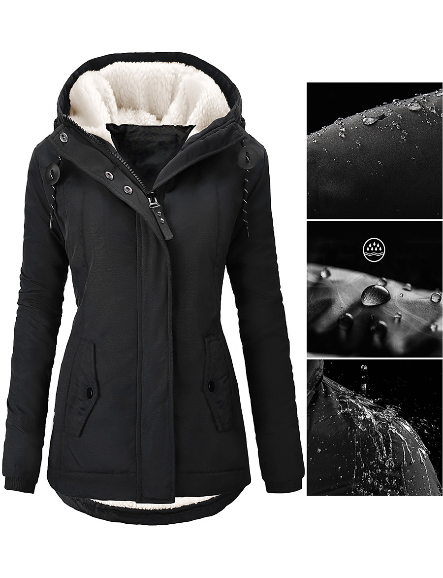 Women's Fall Winter Parka Parka Street Causal Daily Wear Casual Zipper Pocket Padded Solid Colored Faux Shearling Long Sleeve Black / Purple / Blushing Pink S / M / L