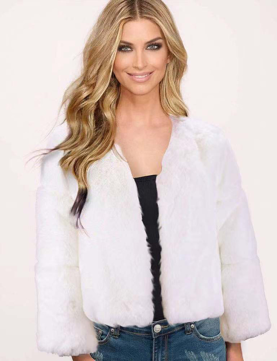 Women's Solid Colored Fall & Winter Faux Fur Coat Regular Daily Long Sleeve Faux Fur Coat Tops White