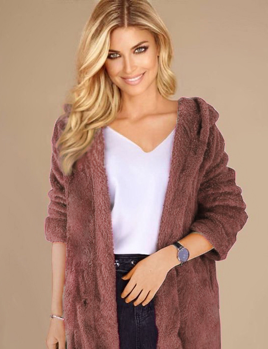 Women's Solid Colored Fall & Winter Teddy Coat Long Daily Long Sleeve Polyester Coat Tops Black