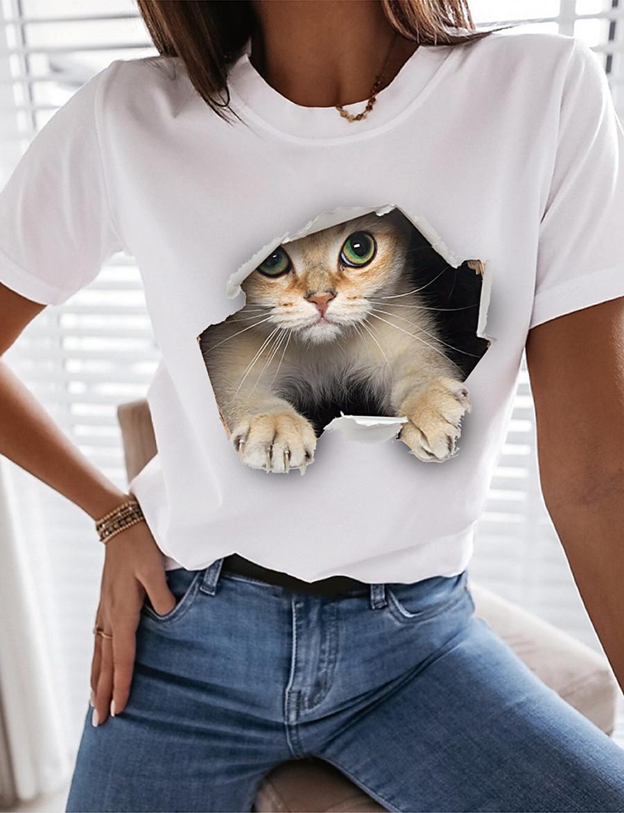 Women's Funny Tee Shirt T shirt 3D Cat Cat Graphic 3D Round Neck Print Basic Tops Regular Fit 100% Cotton White Black
