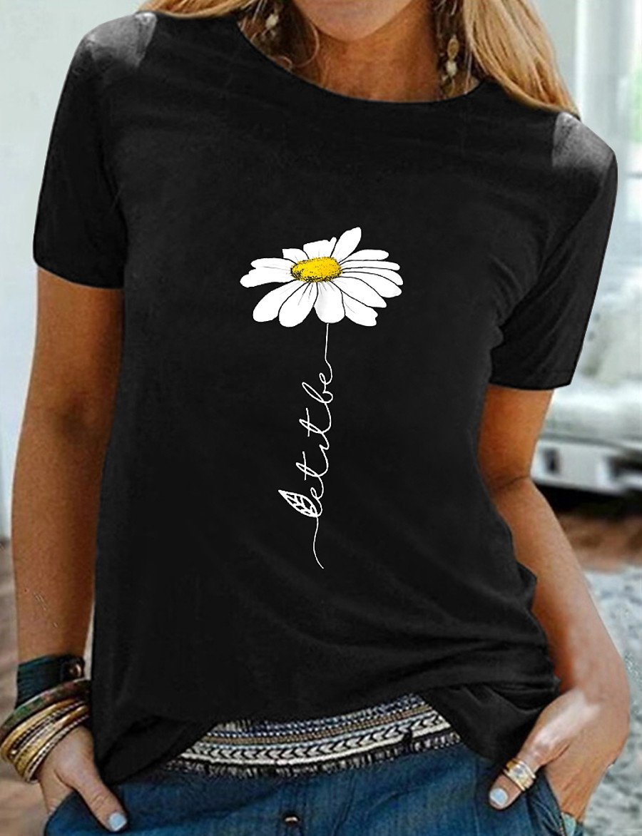 Women's Going out Floral Theme Daisy T shirt Graphic Daisy Print Round Neck Basic Tops 100% Cotton Black
