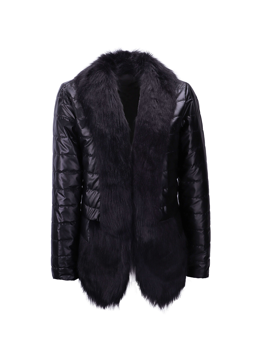 Women's Coat Daily Winter Regular Coat V Neck Regular Fit Elegant & Luxurious Jacket Long Sleeve Solid Colored Fur Trim Black