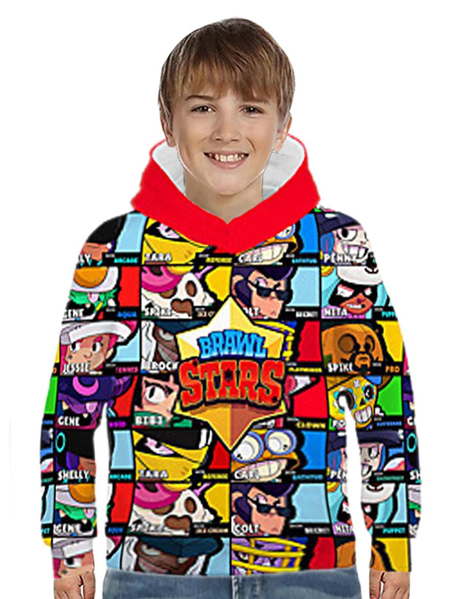 Kids Boys' Hoodie & Sweatshirt Long Sleeve Anime Cartoon 3D Print Color Block Geometric Print Blue Purple Yellow Children Tops Basic Streetwear 3-12 Years