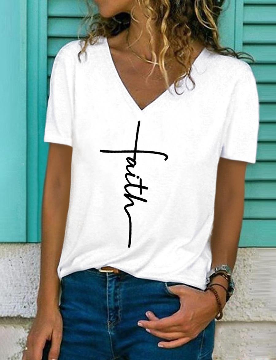 Women's Faith T shirt Letter Print V Neck Basic Casual Tops White