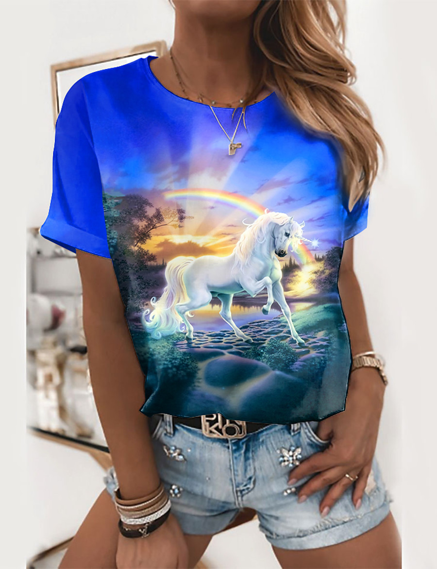 Women's Going out 3D Printed Painting T shirt Graphic 3D Animal Print Round Neck Basic Tops Blue