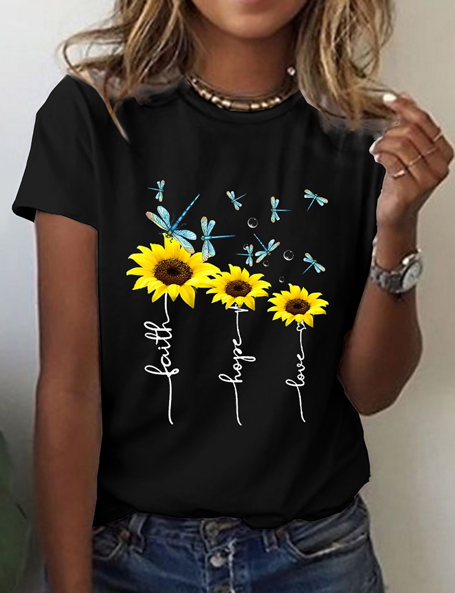 Women's Floral Theme Sunflower T shirt Floral Graphic Print Round Neck Basic Tops White Black
