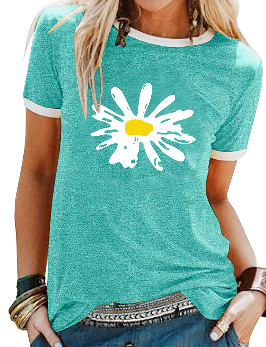 Women's T shirt Floral Theme Daisy Floral Flower Daisy Round Neck Print Basic Tops Blue Purple Yellow