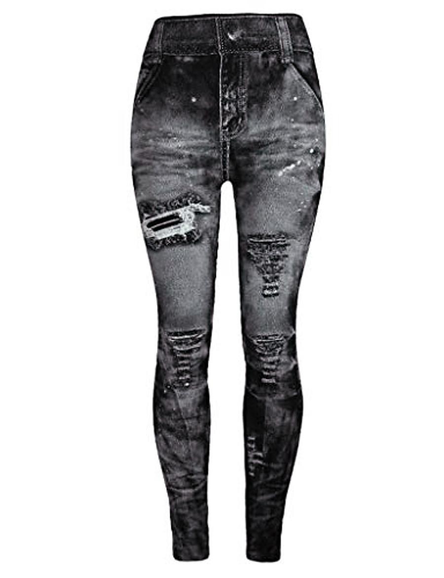 jeggings high waist butt lift skinny style printing vintage pants leggings plus/junior size s-xl gray