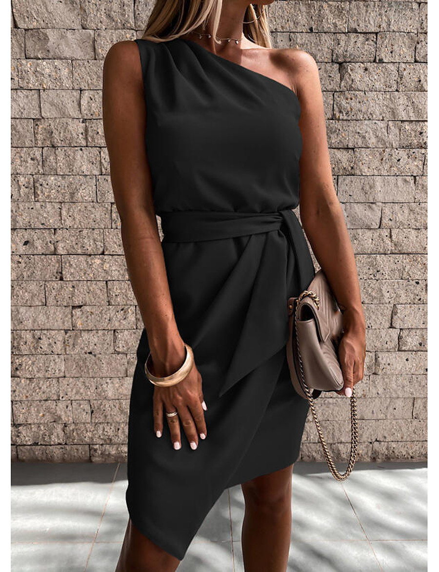 Women's Short Mini Dress Sheath Dress Blue Blushing Pink Black Red Beige Short Sleeve Lace up Solid Color One Shoulder Spring Summer Holiday Work Elegant Casual 2021 Regular Fit S M L XL XXL