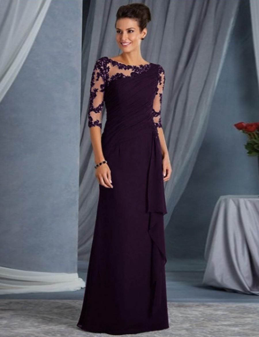 Women's Shift Dress Maxi long Dress Blue Purple Wine Black 3/4 Length Sleeve Solid Color Mesh Lace Patchwork Fall Spring Round Neck Hot Elegant Party Slim 2021 S M L XL XXL