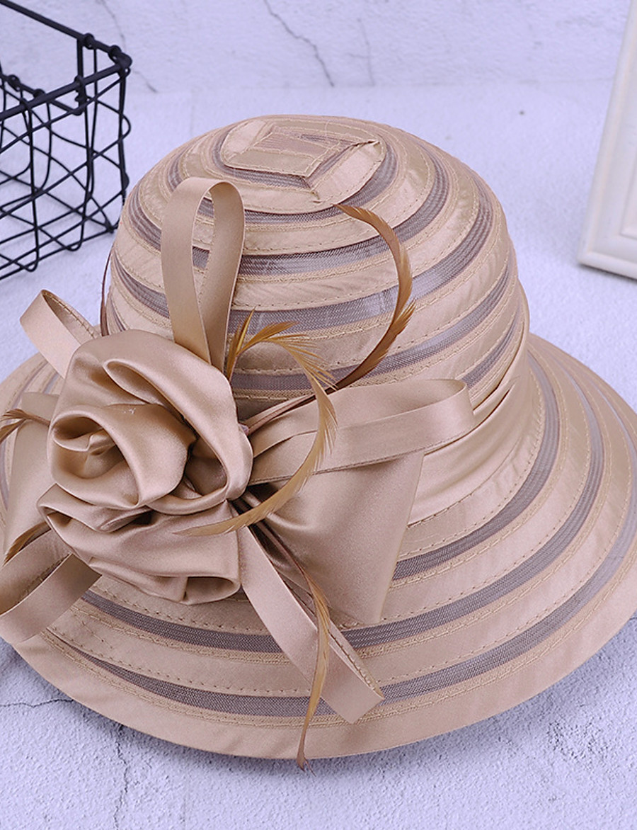 Women's Party Hat Flower Party Wedding Street Black White Solid Color Hat / Red / Fall / Winter / Spring / Summer