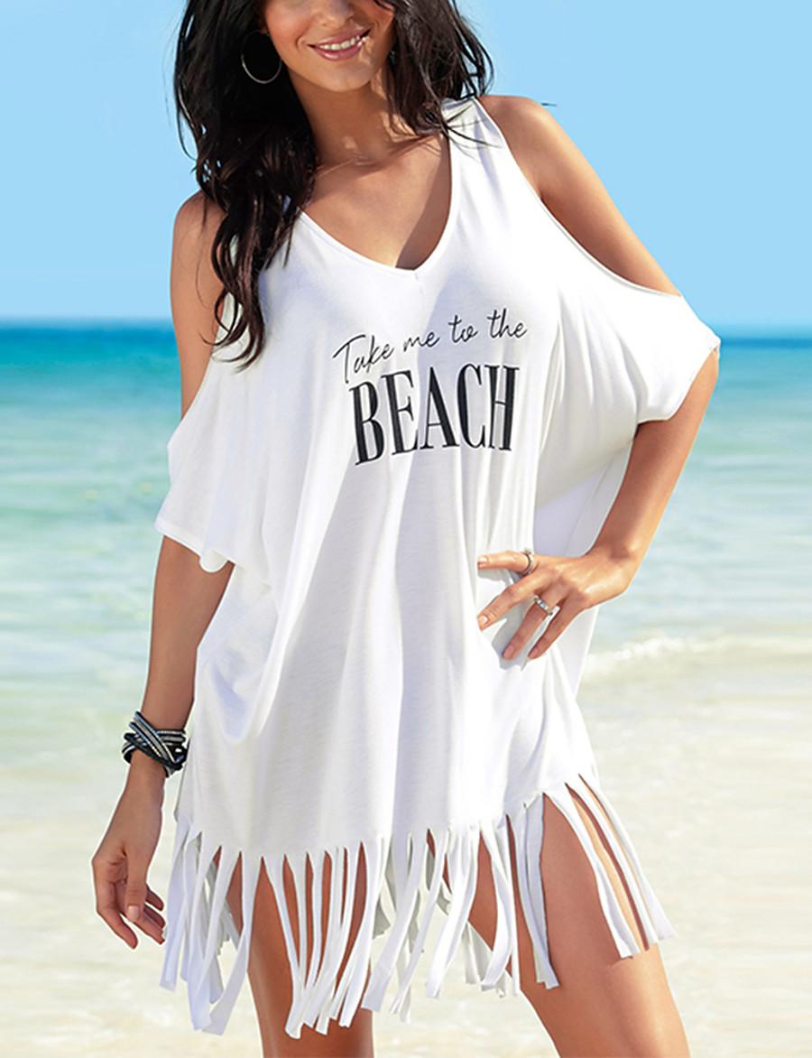 Women's Cover Up Swimsuit Letter White Black Swimwear Bathing Suits
