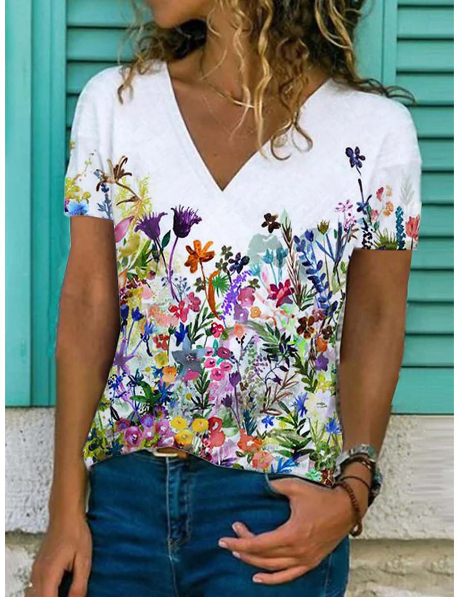 Women's T shirt Floral Theme Floral Graphic Flower V Neck Print Basic Tops Blue Gray White / 3D Print