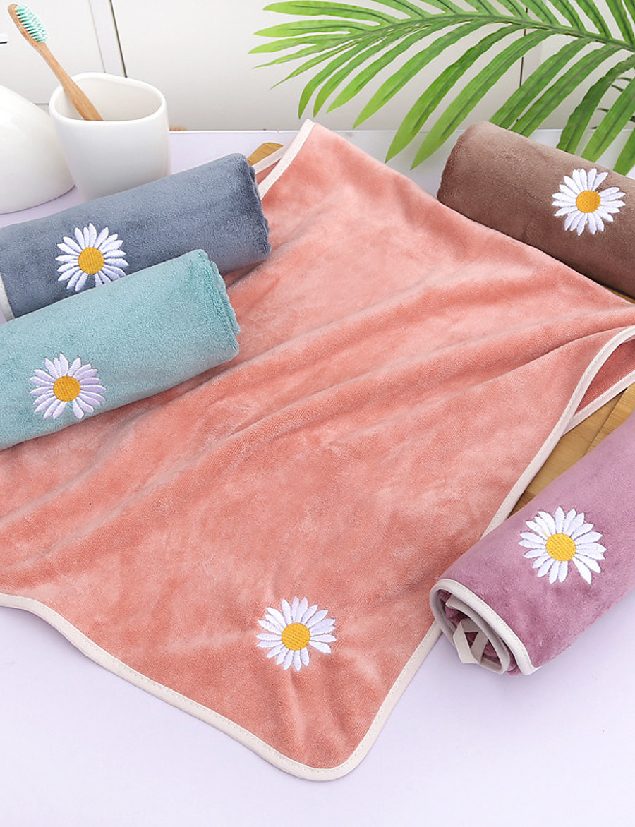 LITB Basic Bathroom Soft Coral Fleece Hand Towel Cute Daisy Flower Embroidery Solid Colored Comfortable Absorbent Daily Home Wash Towels 1 pcs 35*75cm