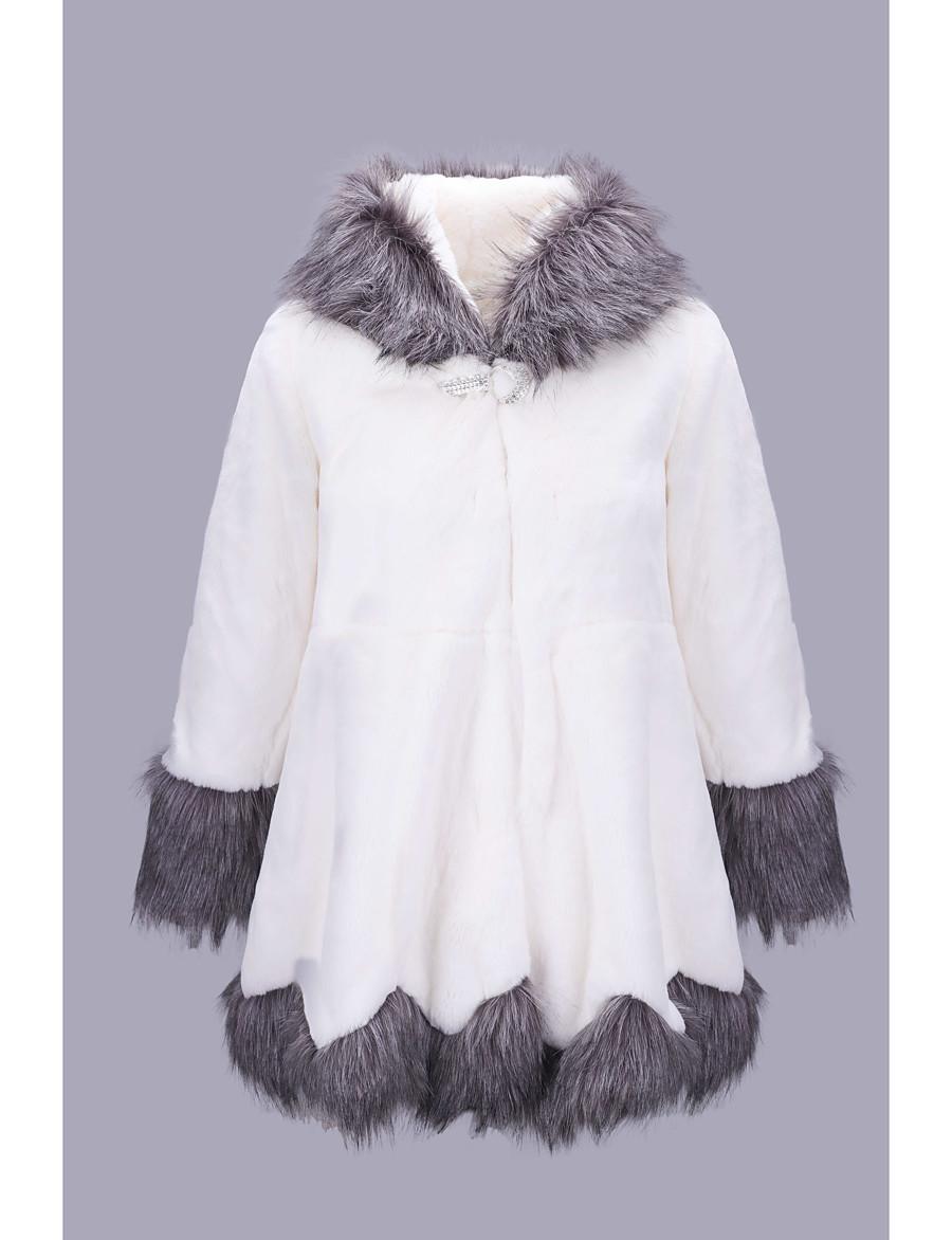 Women's Faux Fur Coat Color Block Winter Long Causal Long Sleeve Faux Fur Coat Tops White