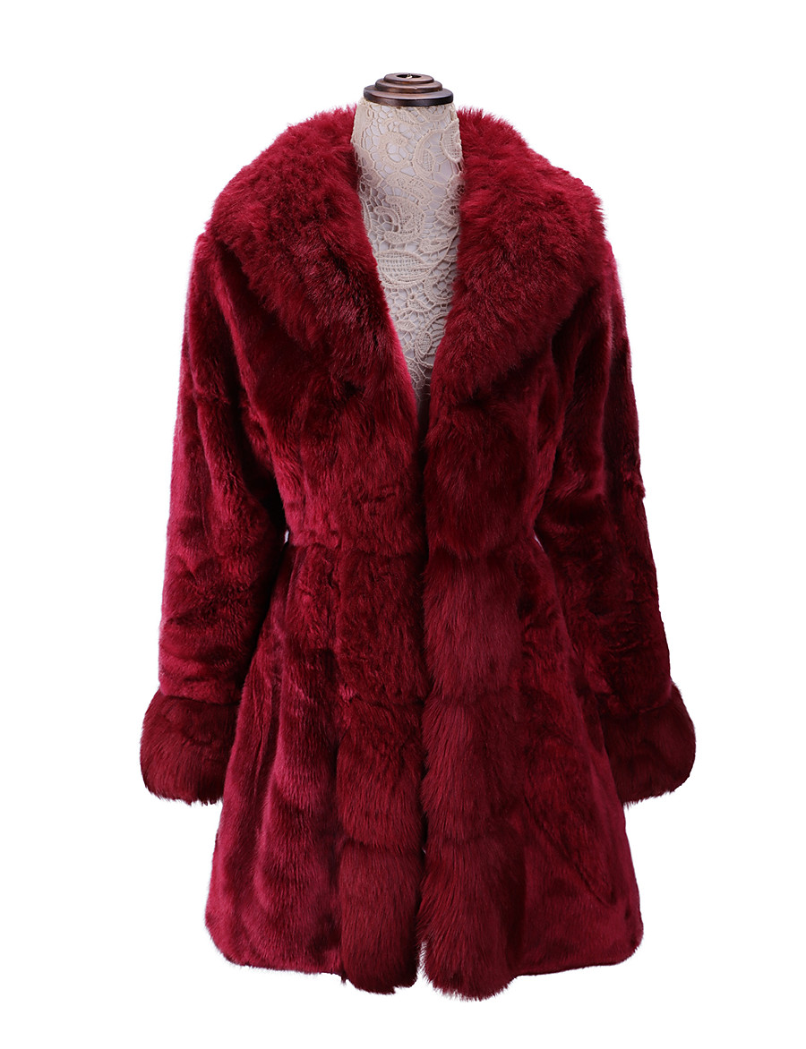 Women's Fur Coat Fall Winter Wedding Daily Going out Long Coat Regular Fit Elegant & Luxurious Jacket Long Sleeve Fur Trim Solid Colored Red White Black