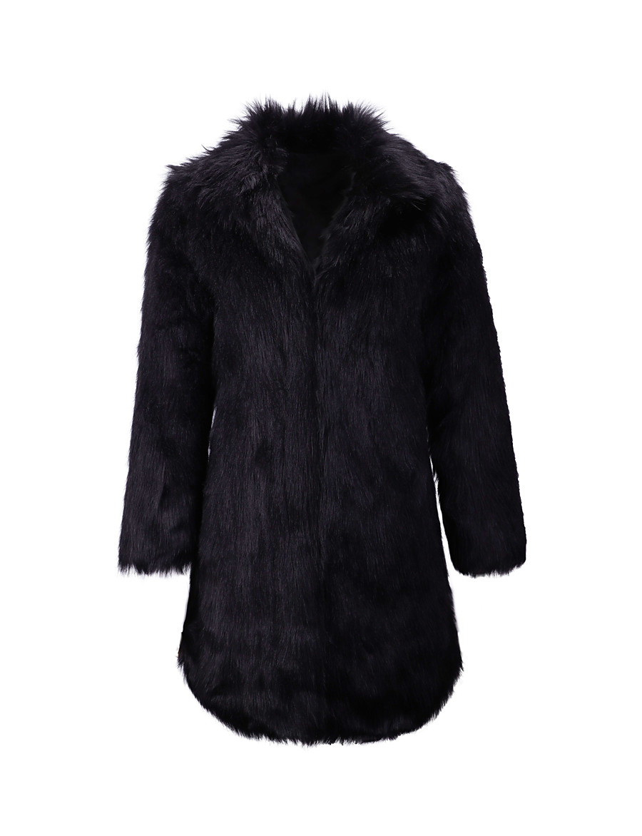 Women's Faux Fur Coat Fall Winter Going out Long Coat Thermal Warm Regular Fit Elegant Jacket Long Sleeve Quilted Print Black
