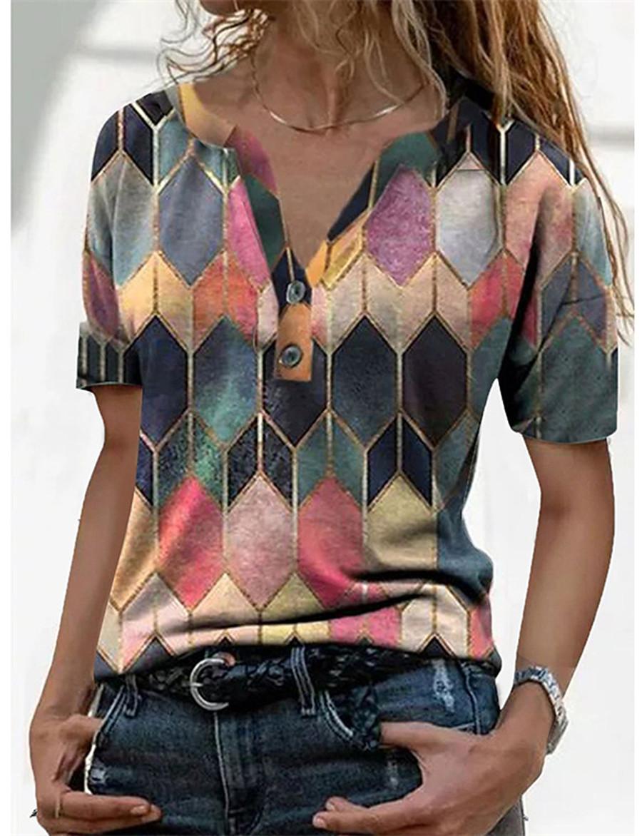 Women's Geometric T shirt Color Block Geometic V Neck Tops Basic Basic Top Blue Purple Red