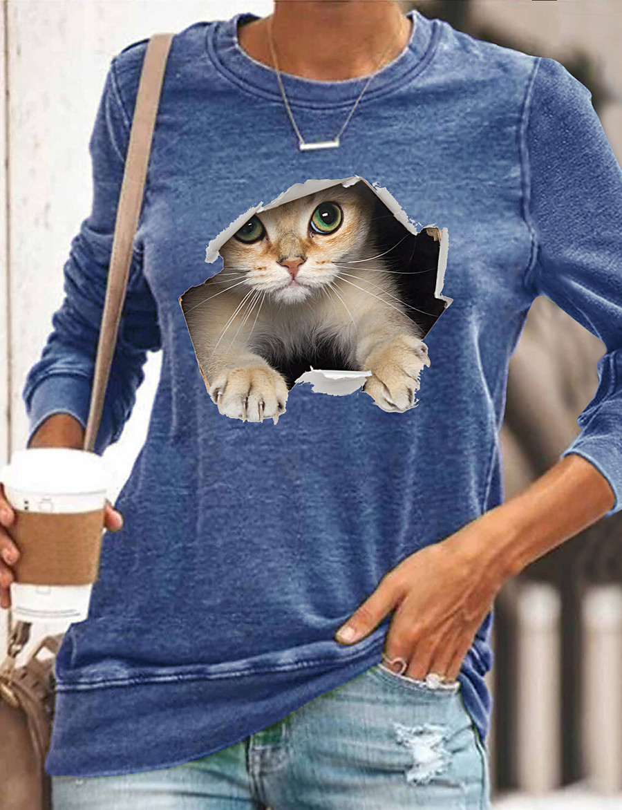 Women's 3D Cat T shirt Cat Graphic 3D Long Sleeve Print Round Neck Basic Tops Black Blue Yellow