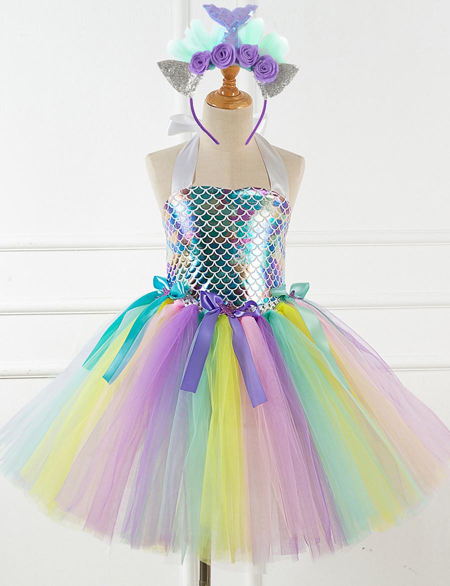 Kids Little Girls' Dress Rainbow Patchwork Unicorn Party Tutu Dresses Birthday Sequins Mesh Patchwork Colorful Blue Light Blue Knee-length Sleeveless Costumes Costume Cute Dresses Halloween Regular