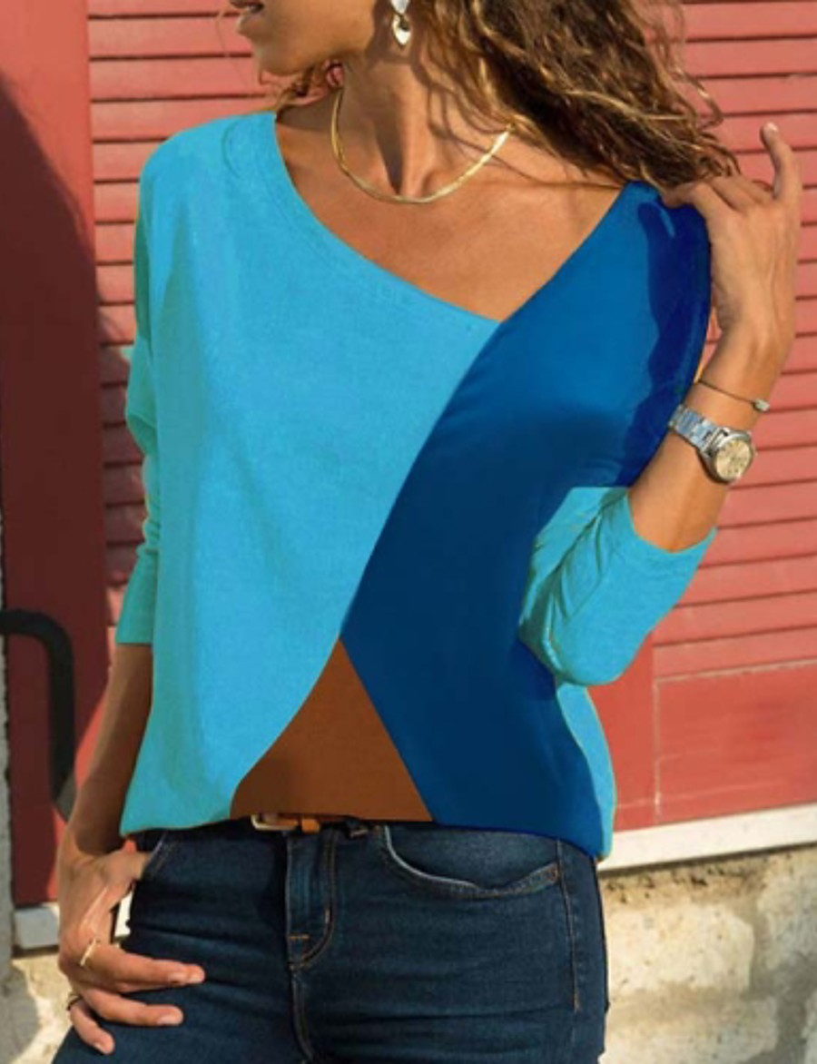 Women's Plus Size T shirt Color Block Long Sleeve V Neck Basic Tops Blue Red Beige