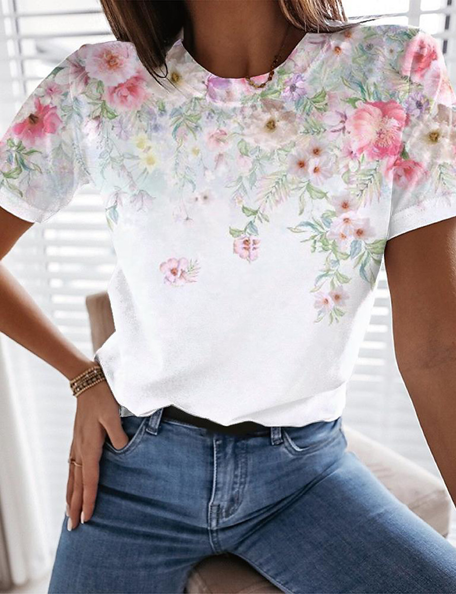 Women's Floral Theme Painting T shirt Floral Graphic Print Round Neck Basic Tops White
