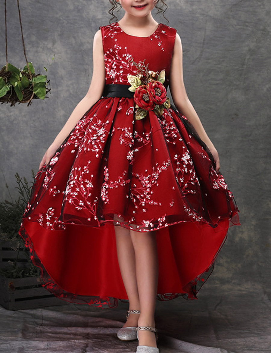 Kids Little Dress Girls' Floral Embroidered Party Wedding Performance Green Red Cotton Sleeveless Party Dresses 3-13 Years