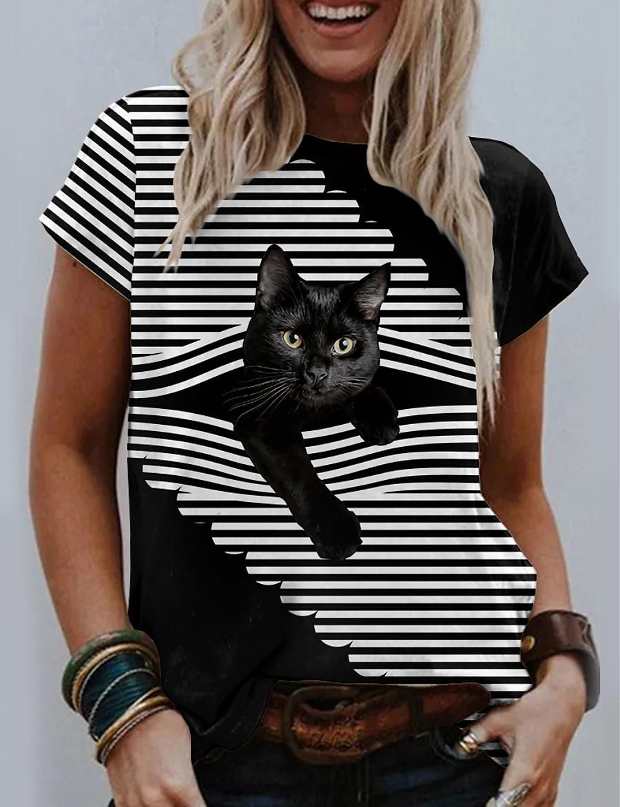 Women's Halloween T shirt 3D Cat Cat Graphic 3D Round Neck Print Basic Halloween Tops Gray White Black / 3D Print