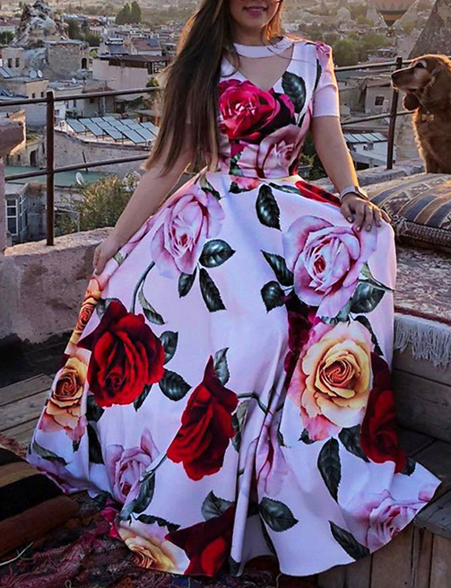 Women's A Line Dress Maxi long Dress Red Short Sleeve Floral Print Floral Summer V Neck Casual Vintage Beach 2021 S M L XL
