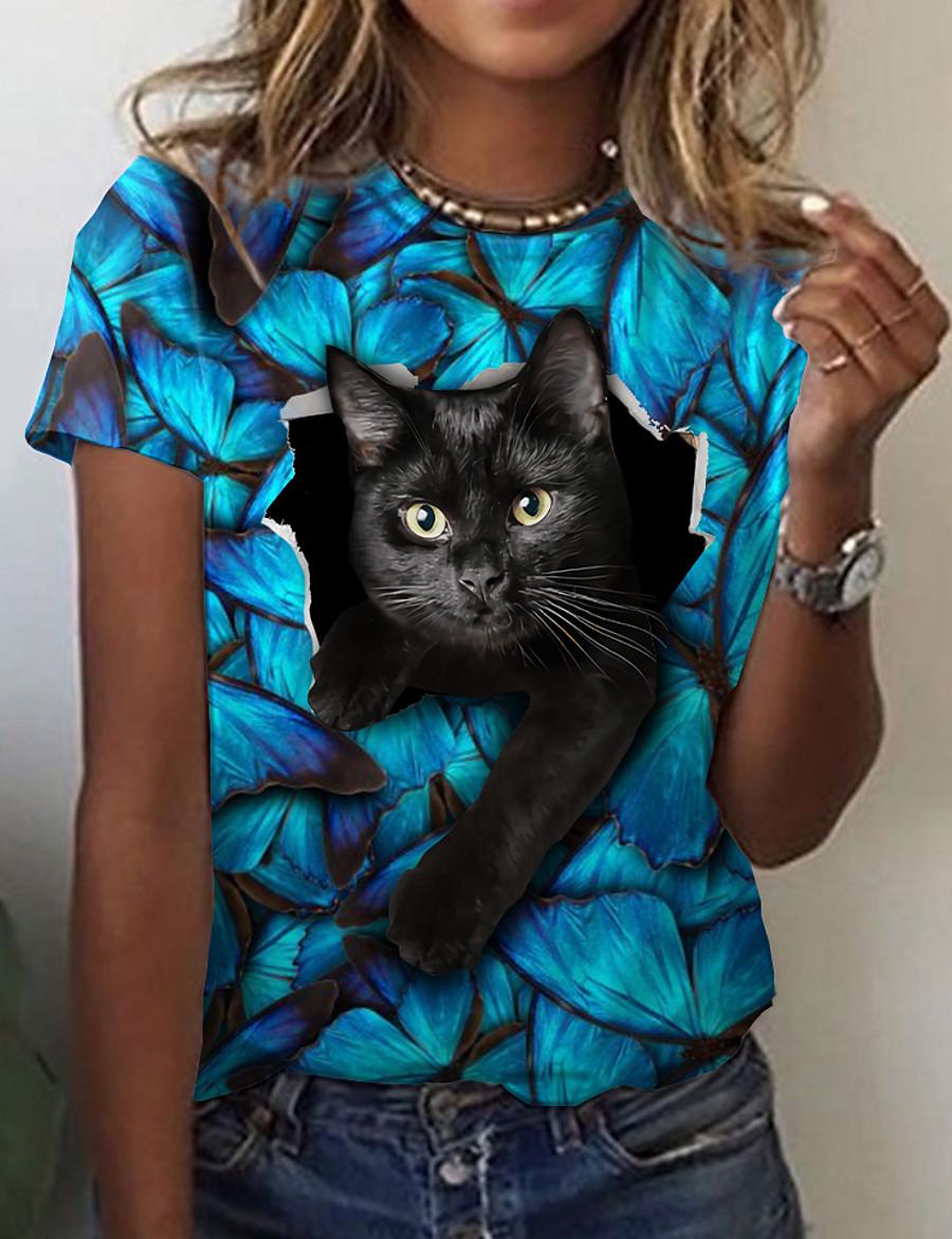Women's 3D Cat T shirt Cat Graphic 3D Print Round Neck Basic Tops Blue
