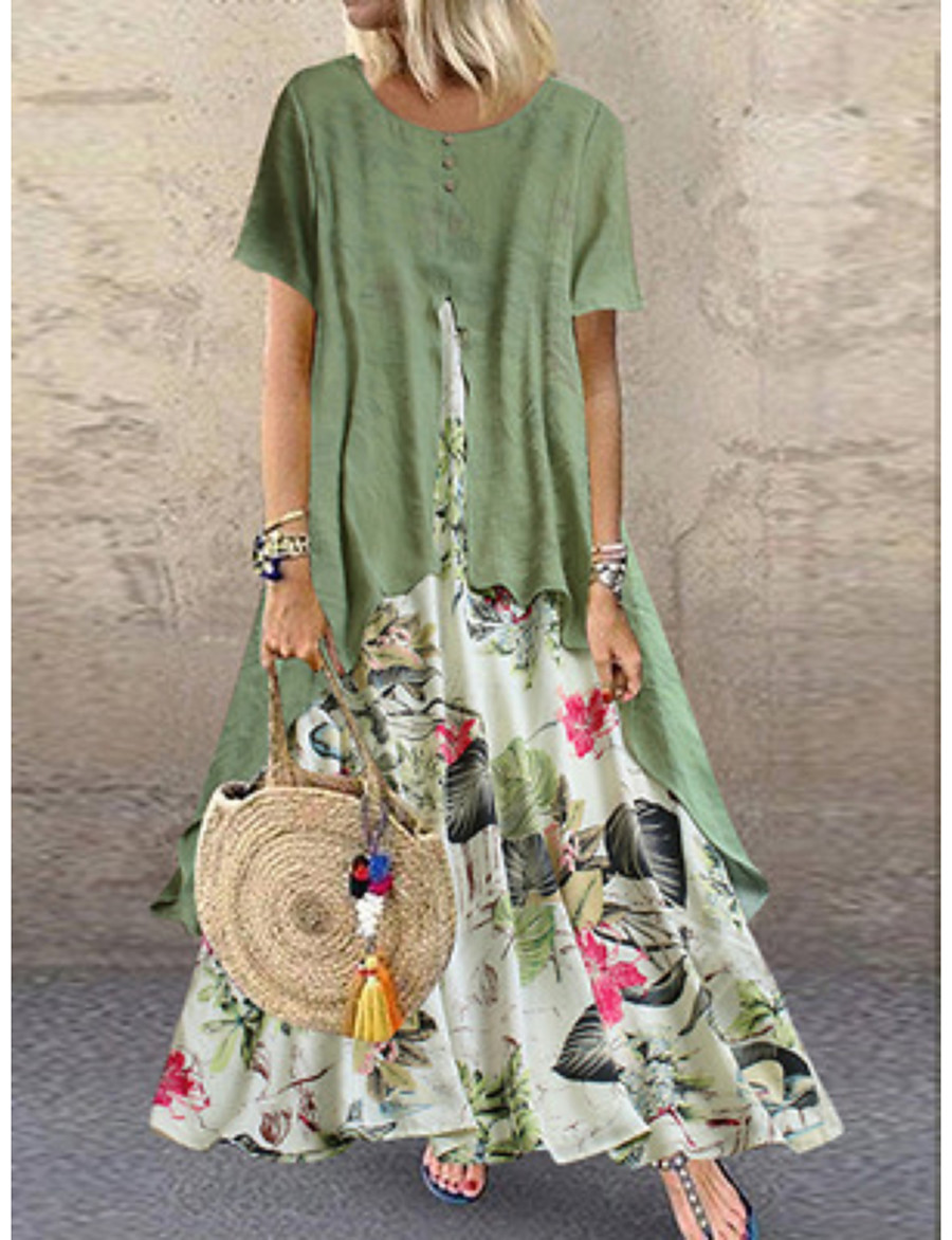 Women's Swing Dress Maxi long Dress Purple Yellow Pink Green Orange Short Sleeve Floral Layered Patchwork Button Spring Summer Round Neck Hot Casual Holiday vacation dresses Loose 2021 M L XL XXL 3XL
