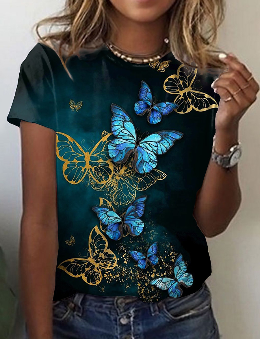 Women's Butterfly Painting T shirt Graphic Butterfly Print Round Neck Basic Tops Black