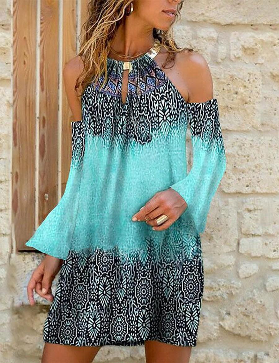 Women's Short Mini Dress Shift Dress Green Long Sleeve Print Print Geometic Halter Neck Spring Summer Casual Holiday Boho 2021 Loose S M L XL XXL 3XL
