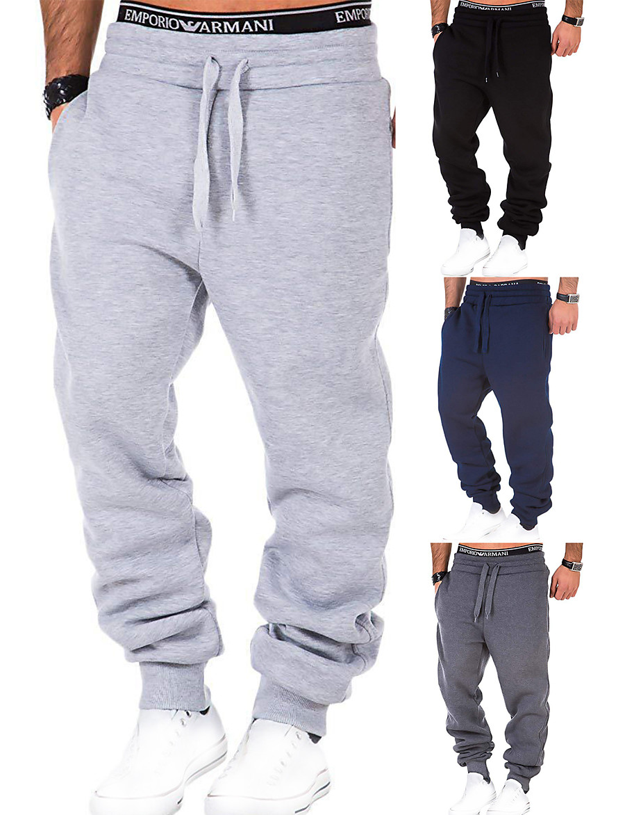 Men's Sweatpants Joggers Track Pants Bottoms Drawstring Fitness Gym Workout Performance Running Training Breathable Soft Sweat wicking Sport Solid Colored Dark Grey Black Light Grey Navy Blue