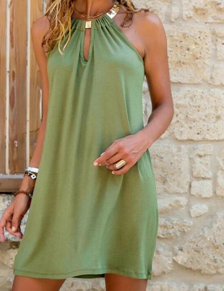 Women's Shift Dress Short Mini Dress Blue Green Sleeveless Solid Color Hollow Out Summer Round Neck Hot Sexy vacation dresses 2021 S M L XL XXL 3XL