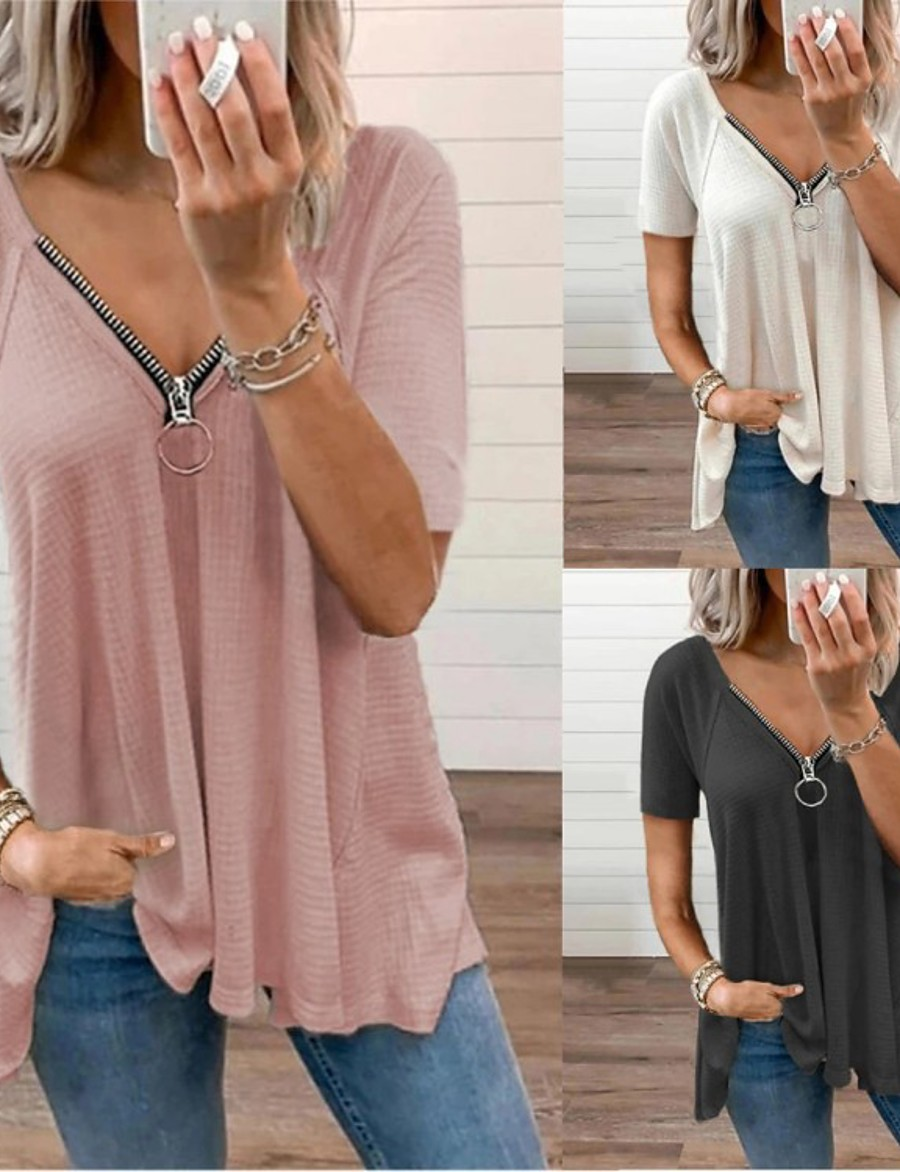 Women's T shirt Short Sleeve Plain V Neck Basic Casual Daily Tops Blushing Pink Gray White / Wash with similar colours / Micro-elastic
