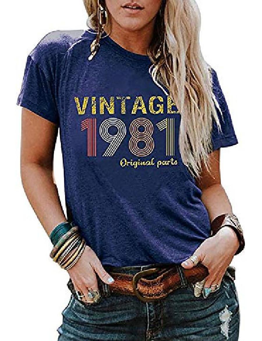 Women's T shirt Text Crew Neck Round Neck Print Vintage 1980s Tops 100% Cotton Red #1 Blue #1 Gray #1